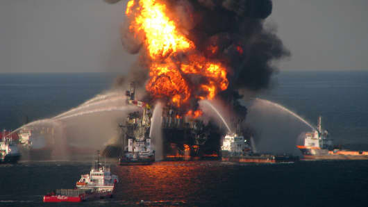 Fire boat response crews battle the blazing remnants of the off shore oil rig Deepwater Horizon in the Gulf of Mexico on April 21, 2010.