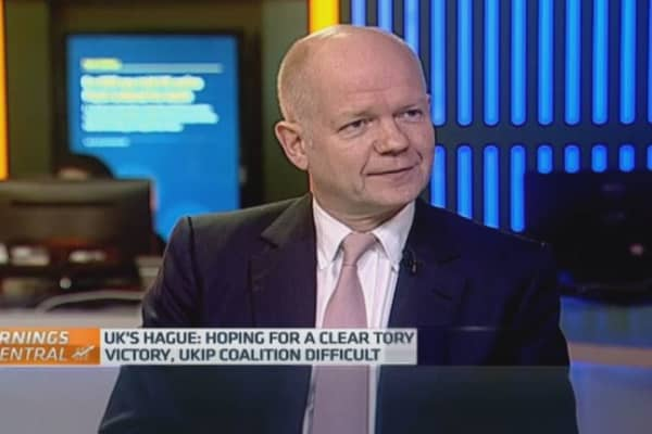 Conservative's Hague: No coalition, thanks!