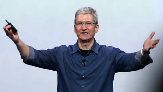 Apple CEO Tim Cook speaks during an Apple special event at the Flint Center for the Performing Arts on September 9, 2014 in Cupertino, California.