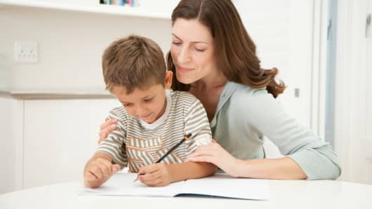 Parent helping child study