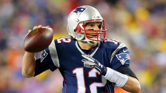 Tom Brady of the New England Patriotsagainst the Indianapolis Colts at Gillette Stadium on January 18, 2015 in Foxboro, Massachusetts.