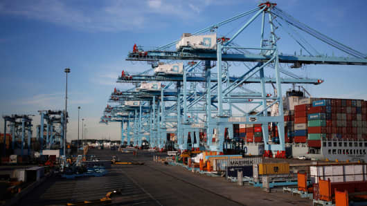 Container ships at the Port of Virginia APM Terminal in Portsmouth, Virginia.