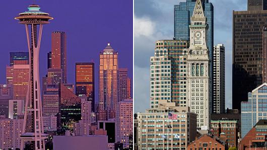 Seattle, Washington (L) and Boston, Massachusettes (R)