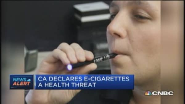 CA declares e-cigs a health threat