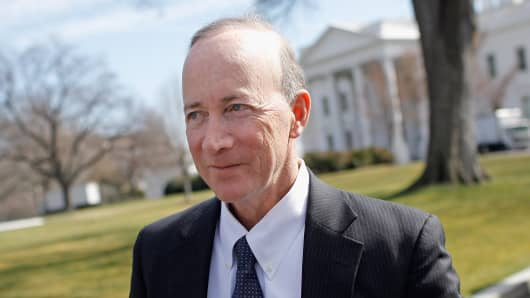 Then-Indiana Gov. Mitch Daniels leaves the White House after a meeting of the National Governors Association with President Barack Obama in February 2012.