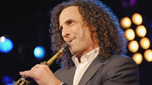 Musician Kenny G performs at Hard Rock Cafe, Times Square, Jan. 14, 2014, in New York.