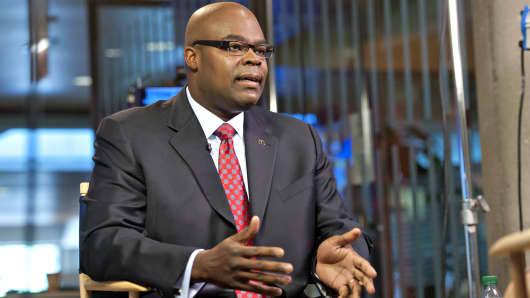 In this July 24, 2013 photo, McDonald's CEO Don Thompson speaks during an interview at McDonald's headquarters in Oak Brook, Ill.