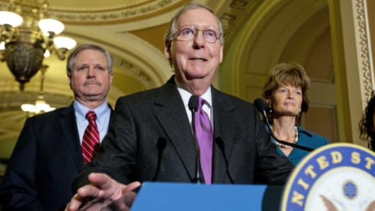 Senate Majority Leader Mitch McConnell of Ky., center, speaks about Keystone XL with Sen. John Hoeven, R-N.D., left, sponsor of the Keystone XL pipeline bill, and Sen. Lisa Murkowski, R-Alaska, right, on Capitol Hill in Washington, Jan. 29, 2015.