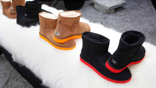 A selection of UGG Australia boots at Mercedes-Benz Fashion Week Spring 2015 Collections at Lincoln Center on September 5, 2014.