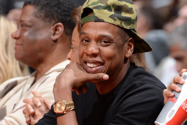 Jay-Z attends an NBA basketball game on January 16, 2015 at STAPLES Center in Los Angeles.