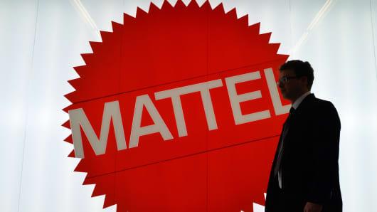 The Mattel logo at the Nuremberg International Toy Fair