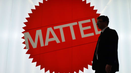 The Mattel sign is pictured at the Nuremberg International Toy Fair, Jan. 29, 2014, in Nuremberg, Germany.
