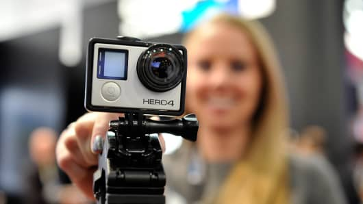 A GoPro Hero 4 camera is displayed at the 2015 International CES in January.