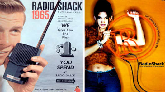 RadioShack catalogue covers from 1965 (L) and 2002 (R).