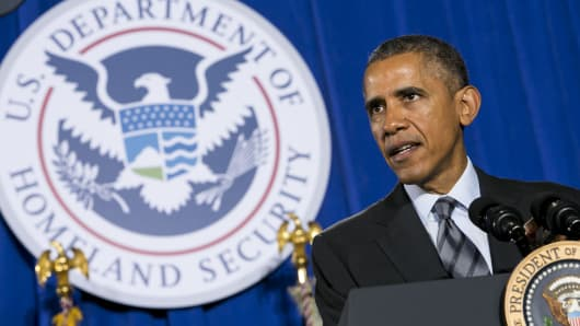 President Barack Obama delivers remarks on his Fiscal Year 2016 Budget at the Department of Homeland Security (DHS) in Washington, D.C., U.S., on Feb. 2, 2015.