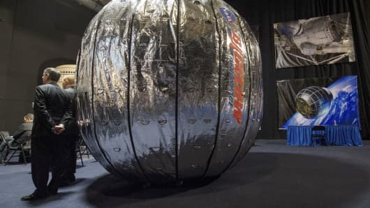 The Bigelow Expandable Activity Module (BEAM) is displayed in Las Vegas in this Jan. 16, 2013, picture provided by NASA.