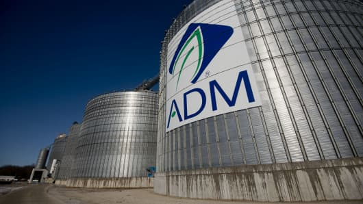 Archer-Daniels-Midland Co. (ADM) signage displayed on the side of a grain storage bin at an ADM grain elevator in Niantic, Illinois.