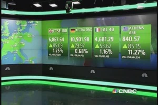 Mining, oil stocks help Europe higher; Greece up 11%