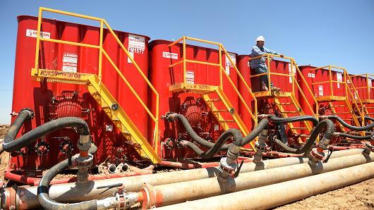 Fracking crews at an Anadarko Petroleum Corporation site near Brighton, northern Colorado.