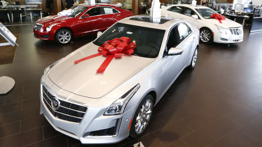 A General Motors Co. (GM) Cadillac CTS vehicle sits on display at the Suburban Cadillac dealer in Troy, Michigan.