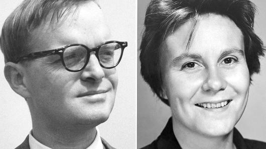 Author Truman Capote in 1955 (L) and author Lee Harper in 1960 (R).