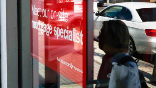 A sign advertising home mortgage services at a Bank of America branch in Manhattan Beach, California.