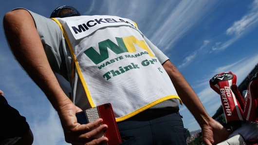 Caddie Jim Mackay waits on the 16th tee during the pro-am prior to the start of the Waste Management Phoenix Open at TPC Scottsdale on January 28, 2015 in Scottsdale, Arizona.