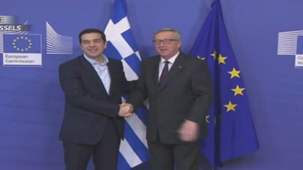 Tsipras and Juncker's awkward meeting...