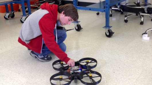 Student in a UAV lab at Embry-Riddle Aeronautical University