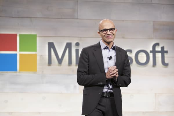Microsoft CEO Satya Nadella addresses shareholders during the company's shareholders meeting Dec. 3, 2014, in Bellevue, Wash.