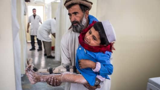 A child suffering from polio in Afghanistan.