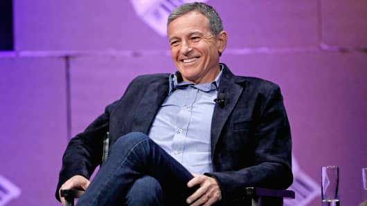 "The Walt Disney Company Chairman and CEO Bob Iger speaks onstage during ""From 7 Dwarves to 140 Characters"" at the Vanity Fair New Establishment Summit at Yerba Buena Center for the Arts in San Francisco, Oct. 9, 2014."