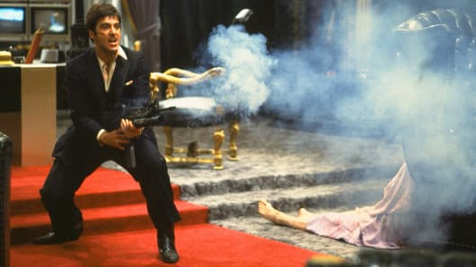 "Al Pacino portrays Tony Montana, a Cuban immigrant turned kingpin, in a scene from the film ""Scarface."""