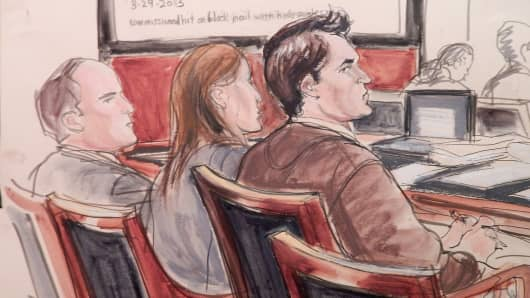Ross Ulbricht, right, is shown in court as the prosecution rests its criminal case against him in New York, Feb. 4, 2015.