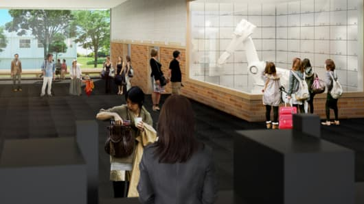 Rendering of Henn-Na Hotel with robots in Tokyo