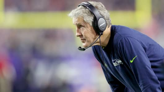 Seattle Seahawks' head coach Pete Carroll looks on from the sidelines against the New England Patriots during the Super Bowl, Jan. 31, 2015, in Glendale, Ariz.