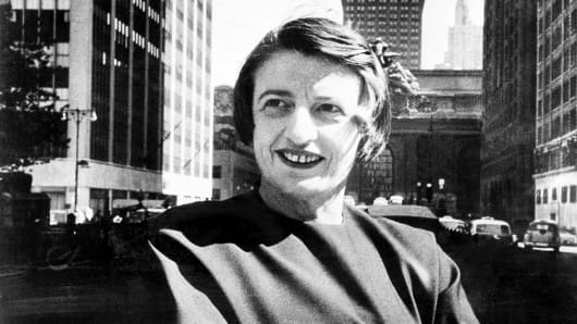 Ayn Rand, Russian-born American novelist, is shown in Manhattan with the Grand Central Terminal building in background in 1962.
