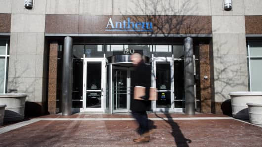 Anthem Health Insurance headquarters is shown in Indianapolis, Feb. 5, 2015.