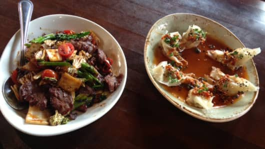 "Two dishes from PF Chang's new ""Lucky 8 Dishes"""