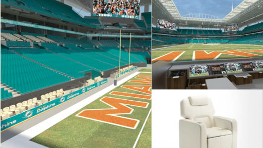 Miami Dolphins luxury living room boxes