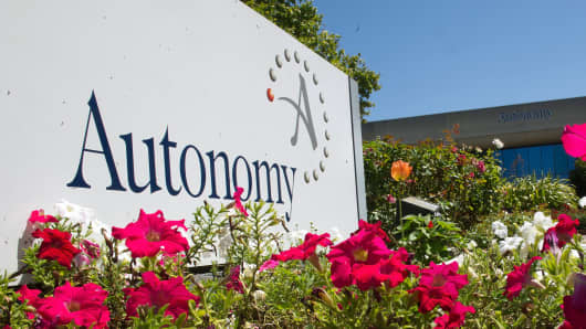Autonomy signage is displayed at their office in San Jose, California in 2011.