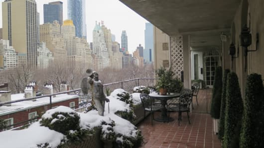 Joan River's New York City apartment balcony view.