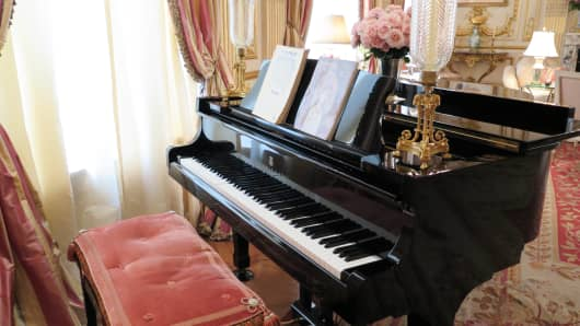 Joan River's grand piano in her New York apartment.