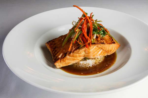 Ocean Prime Teriyaki Salmon with Shiitake Sticky Rice