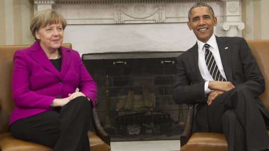 German Chancellor Angela Merkel meets with President Obama in the Oval Office, Feb. 9, 2015.