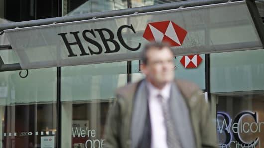 An HSBC bank branch is shown in London, Feb. 9, 2015.