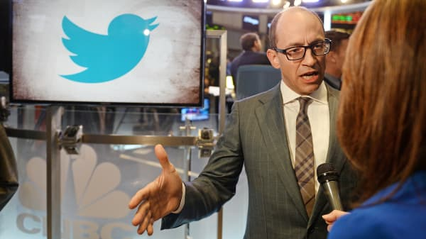 Twitter CEO Dick Costolo gives an interview on the trading floor of the New York Stock Exchange, Nov. 7, 2013.