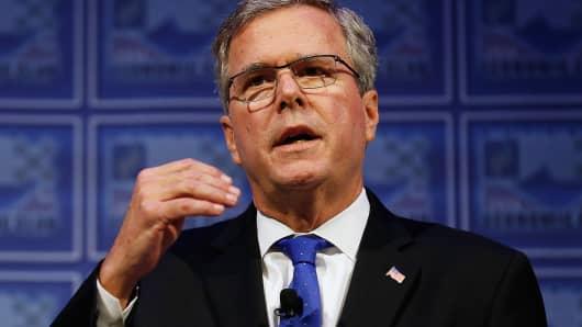 "Former Florida Gov. Jeb Bush addresses the Detroit Economic Club about his ""Reform Conservative Agenda"" in Detroit on Feb. 4, 2015."