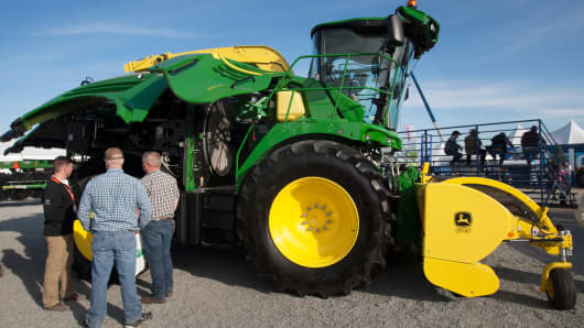 A John Deere 8600 tractor is displayed on opening day of the World Ag Expo on February 10, 2015 in Tulare, Calif.