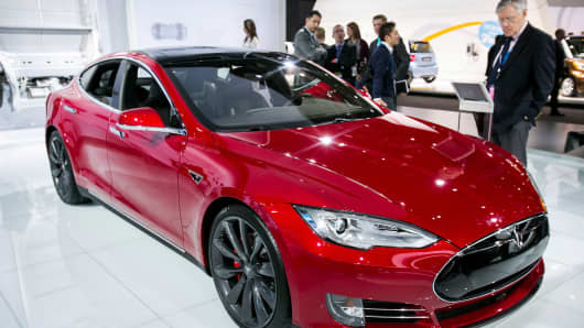 Tesla Model S P85D is revealed to the media at the 2015 North American International Auto Show at Cobo Center on January 12, 2015 in Detroit.